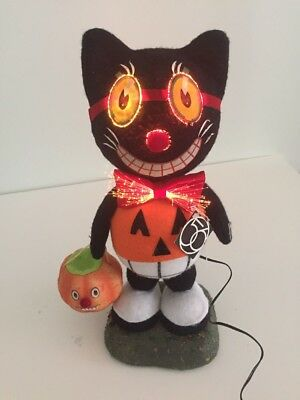 Vtg Style Dept 56 Halloween Fiber optic Black Cat JOL Trick or Treating 17 inch