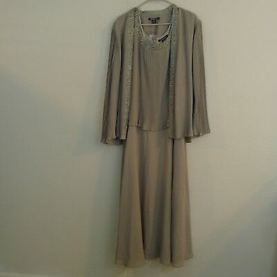 Roman Womens Size 22W Mother of the Bride Dress Champagne w/ Cardigan