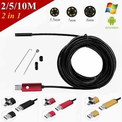 2/5/10M 6LED Waterproof USB Endoscope Inspection Borescope HD Camera Android CP