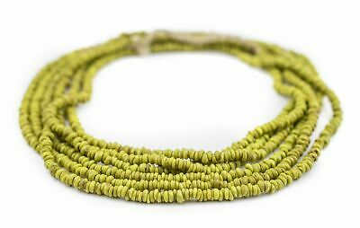 Lime Green Java Glass Heishi Beads 4mm Indonesia Large Hole 23 Inch Strand