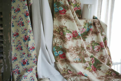 BUNDLE vintage CUT fabrics FLORAL DESIGN ROSE 1 WASHED lot CRAFT