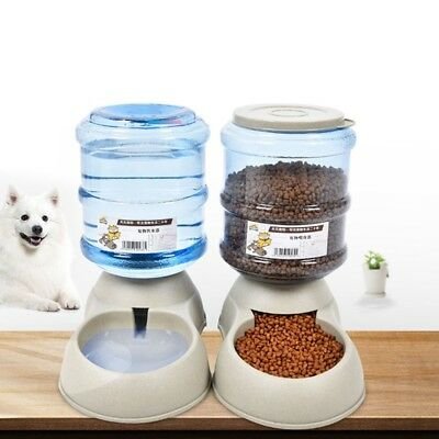 Portable 3.75L Automatic Pet Food Drink Dispenser Dog Cat Feeder Water Bowl Dish