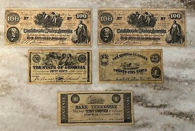"CONFEDERATE STATES OF AMERICA Obsolete Currency TN, GA, AL $100 ""Slaves Hoeing"""