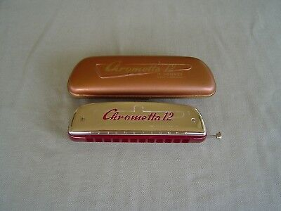 """Vintage M. Hohner """"chrometta 12"""" Cross Tuned Harmonica In """"c"""" With Case"""