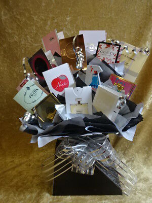Sweet & Flower Style Perfume Bouquet Vial Samples Gift Bows Hamper Black Silver