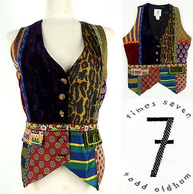 Vtg 90's TODD OLDHAM TIMES SEVEN 7 Vest Small Patchwork Silk Wool Mix USA