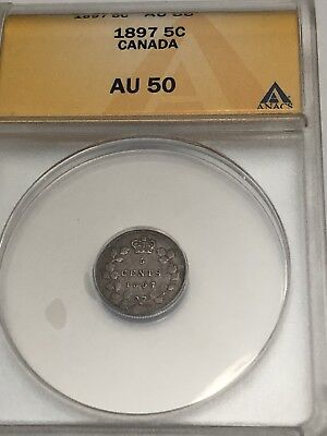 1897 Canada Silver Five Cents - ANACS GRADED AU50