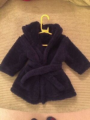 Baby Boys Super Soft Navy Dressing Gown 1-1/2 years - Fab condition