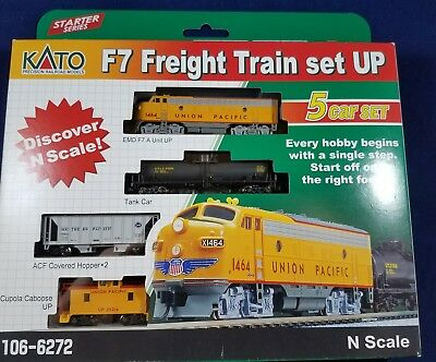 Kato N Scale UP Union Pacific F7 Diesel Locomotive and 4 Car Starter Set