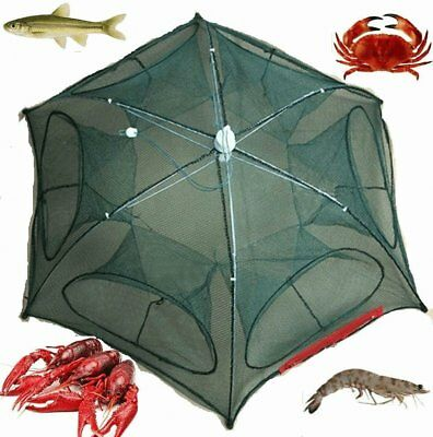 Fishing Bait Net Trap Cast Dip Cage Crab Fish Minnow Crawdad Shrimp Foldable JY