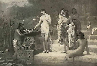 Old Antique vintage Religious art Print Baby MOSES Egyptian Princess Nile River