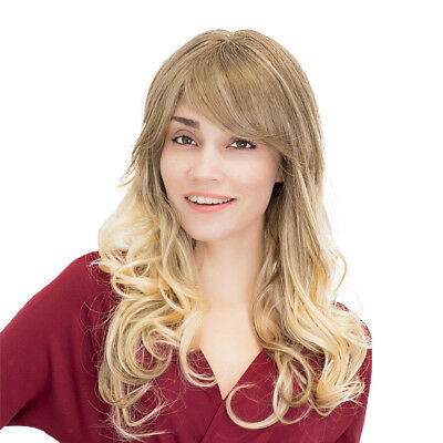 """Fashion Women Daily Party Wig Curly Wavy Gold Hairpieces Human Hair Wig 23"""""""