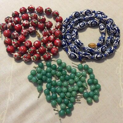 Lot Of 3 Vintage Chinese Bead Necklaces As Is Repair Cloisonne Blue Ceramic