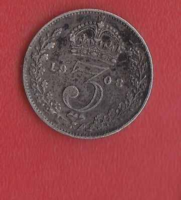 Great Britain 3 Pence 1908 Silver