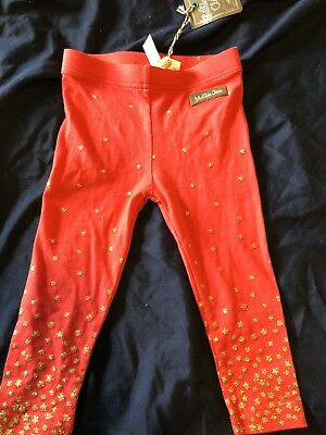 12-18 Month Matilda jane Red Leggings With Gold Star NWT