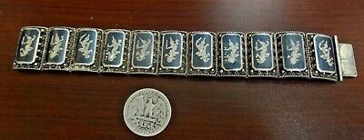 Beautiful Fancy Vintage Asian Sterling Silver Siam Onyx Bracelet. Signed.