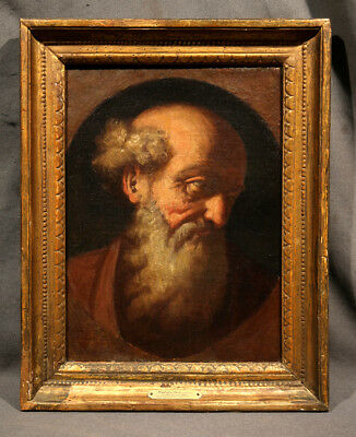 Head Of Saint Italian Religious Old Master Antique Oil Painting on Canvas