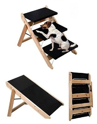 2 In 1 Portable Pet Dog Puppy Cat 3 Steps Ladder Folding Wooden Ramp Stairs