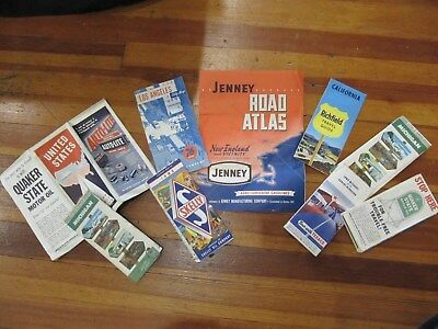 9 VINTAGE 1950-60s GAS OIL ROAD MAPS ADS JENNEY SKELLY TEXACO UNION GRAPHICS