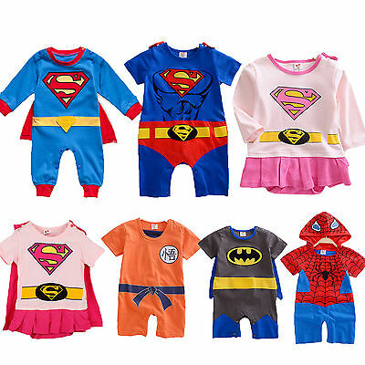 Newborn Baby Boy Girl Superhero Romper Jumpsuit Outfit Party Fancy Dress Costume