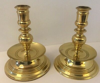 Vintage Pair Of Brass Baldwin Candlestick Holders Large