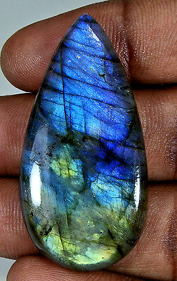 Natural Blue Labradorite Cabochon Gemstone Pear 53.50Cts.;#3718