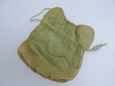 Antique Edwardian Coin Purse Pouch - Olive Green Leather Drawer String c1910