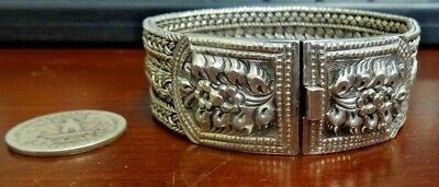 Unusual Heavy Sterling Silver Braided Woven Flowers Thick Bracelet. Signed 925