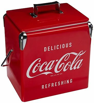 Vintage Beverage Cooler Ice Box Tin Lunch 8 Gallon Red Metal Coke Coca Cola