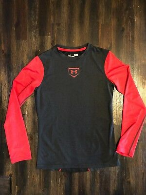 cd36d8f824b3 Ua Under Armour Youth Boys Large Fitted Heatgear Long Sleeved Black Red  Shirt