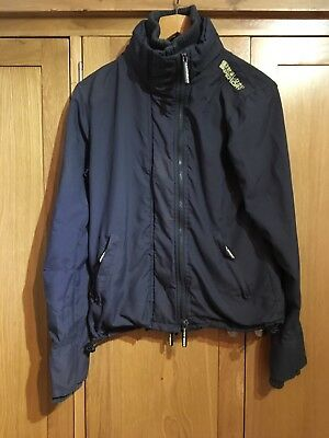 Superdry Windcheater Charcoal Grey Green Womens Jacket Coat Size Large 12 14