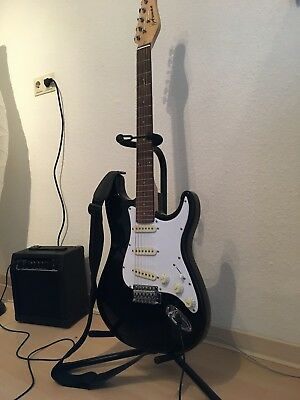 Full Size Electric Guitar, Amp, and Stand - Black, Axman, Good Condition
