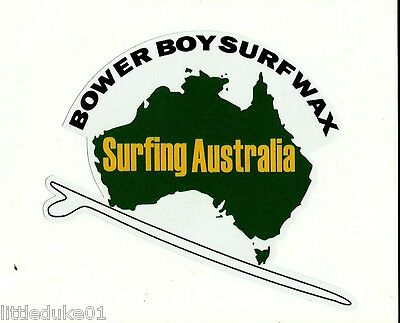 """BOWER BOY WAX"" VINTAGE RETRO Sticker Decal 1970s LONGBOARD SURFER SURFBOARD"