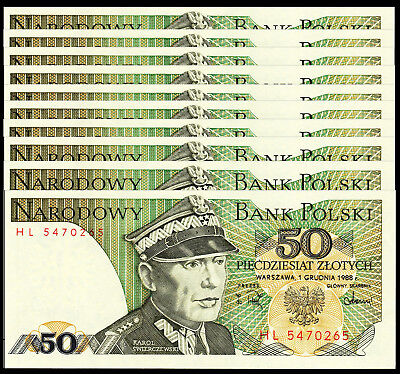 Poland 50 Zlotych 1988 P 142 Unc (10 Notes)