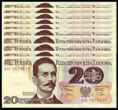 Poland 20 Zlotych 1982 P 149 Unc (10 Notes)