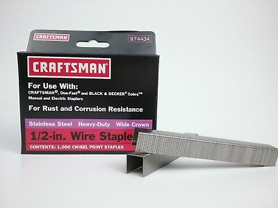 "Stainless Steel Heavy Duty Wide Crown  1/2"" Wire Staples  74434"