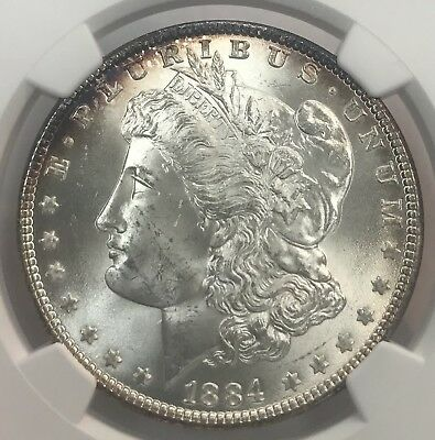 1884-P Morgan Silver Dollar NGC MS-63 Beautiful Toning!