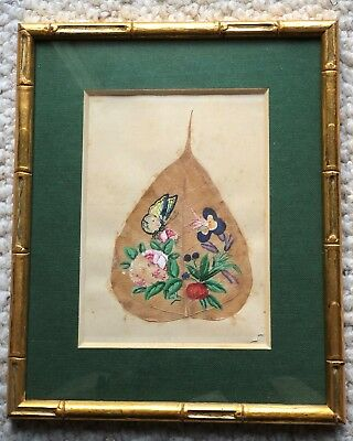 Unknown Year Ancient China Chinese Leaf Painting with a Butterfly and Flowers