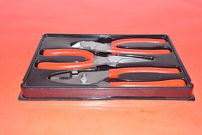 NEW Snap-On 3 Piece Combination Diagonal Cutter Needle Nose Plier Set PL300CF