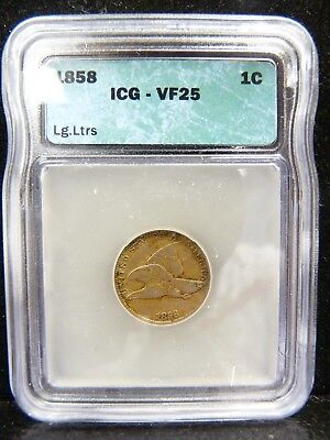1858 Flying Eagle Cent Large Letters ICG VF 25