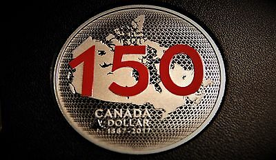 1867-2017 Canada 150th Anniv. PROOF COLOURED SILVER DOLLAR Coin: Our home...