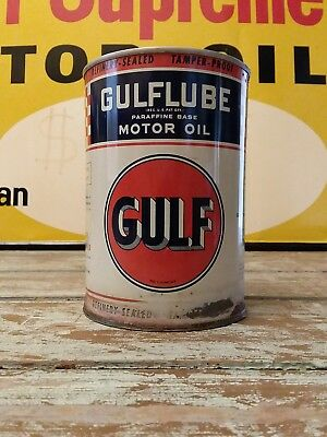Gulf Oil Can Gulfpride Supreme Gulflube Gas Station 1930's Motor Oil Metal Nice!