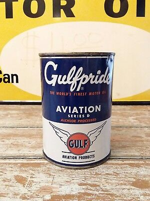Gulf Oil Can Gulfpride Aviation Motor Oil Can RARE FIND FULL NOS 1950's Gulflube