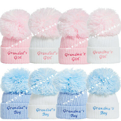 Baby Boys Girls Knitted Pompom Hats 0-3/3-9 Months Blue/white , Pink / White