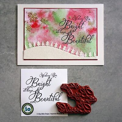 """""""reduced"""" Impression Obsession """"bright & Beautiful"""" Sentiment Cling Stamp - Bnip"""