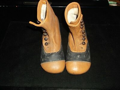 VICTORIAN Antique Child's High Top Side Button leather Shoes Two Toned Ex Shape