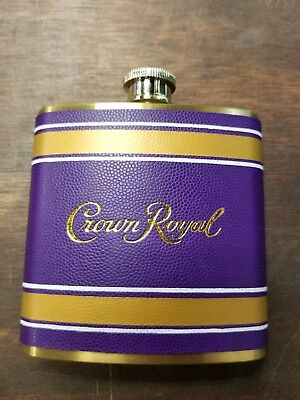 Collectible Crown Royal Stainless Steel Collectible Flask PURPLE & Gold NEW!