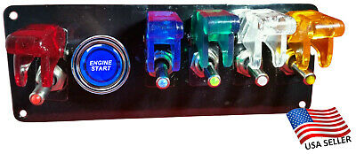 12V Switch Panel Black Powder Coat 5 Multicolored Switches/Push Start Button