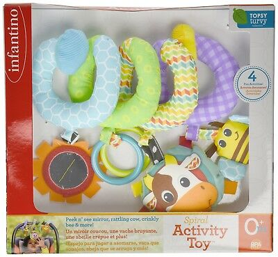 Infantino SPIRAL ACTIVITY MULTI FUNCTIONAL Hanging CAR SEAT CRIB BABY TOY NEW