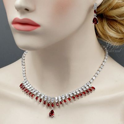 White Gold Plated Red Cubic Zirconia Necklace Earrings Wedding Jewelry Set 02416